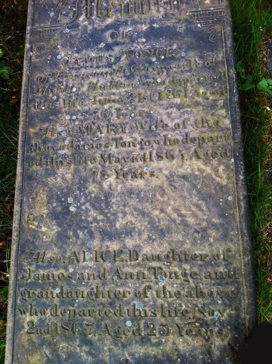 Photograph of gravestone of James Tonge (c1785 - 1861) of Farnworth, formerly Middle Hulton, and wife Mary