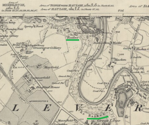 Map of Part of Great Lever showing Raikes
