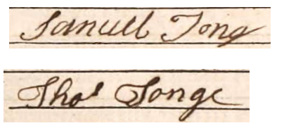 Samuel Tong and Thos Tonge Signuatres 1761