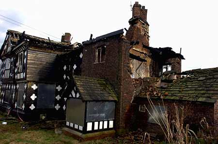 Tonge Hall, pictured after being severely damaged by fire.